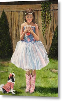 Metal Print featuring the painting I Dressed Myself by Donna Tucker