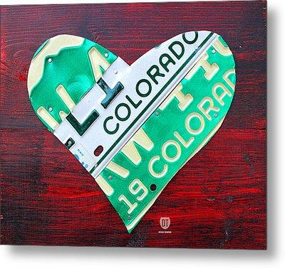 I Heart Colorado License Plate Art Metal Print