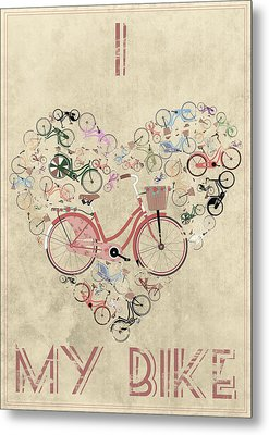 I Heart My Bike Metal Print