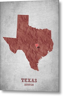 I Love Austin Texas - Red Metal Print by Aged Pixel