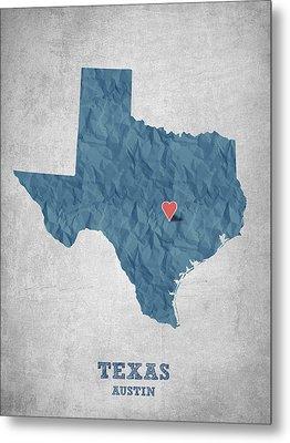 I Love Austin Texas - Blue Metal Print by Aged Pixel