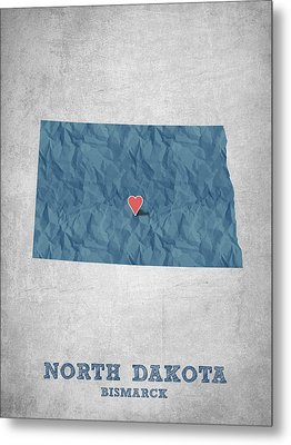 I Love Bismarck North Dakota - Blue Metal Print by Aged Pixel