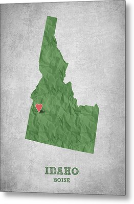I Love Boise Idaho- Green Metal Print by Aged Pixel