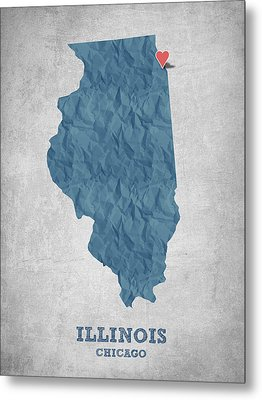 I Love Chicago Illinois - Blue Metal Print by Aged Pixel