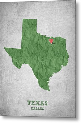 I Love Dallas Texas - Green Metal Print