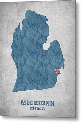 I Love Detroit Michigan - Blue Metal Print by Aged Pixel