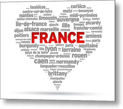 I Love France Metal Print by Aged Pixel