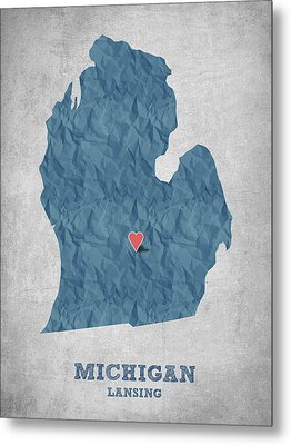 I Love Lansing Michigan - Blue Metal Print by Aged Pixel
