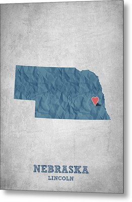 I Love Lincoln Nebraska - Blue Metal Print