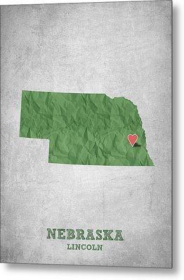 I Love Lincoln Nebraska - Green Metal Print