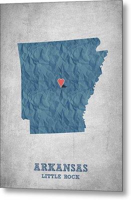 I Love Little Rock Arkansas - Blue Metal Print by Aged Pixel