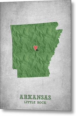 I Love Little Rock Arkansas - Green Metal Print by Aged Pixel