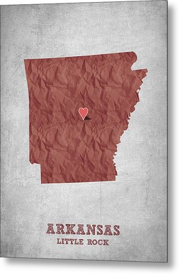I Love Little Rock Arkansas - Red Metal Print by Aged Pixel