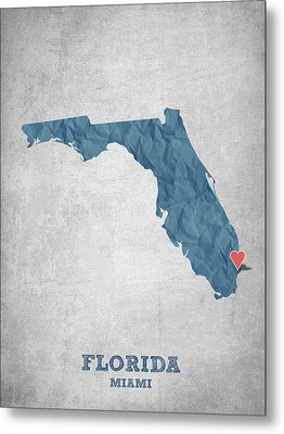 I Love Miami Florida - Blue Metal Print by Aged Pixel
