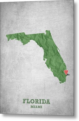 I Love Miami Florida - Green Metal Print by Aged Pixel