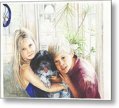 Metal Print featuring the painting I Love My Dog by Patricia Schneider Mitchell