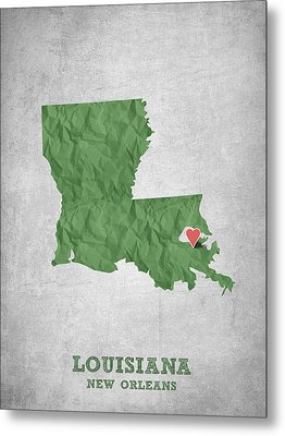 I Love New Orleans Louisiana - Green Metal Print by Aged Pixel