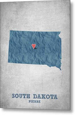 I Love Pierre South Dakota - Blue Metal Print