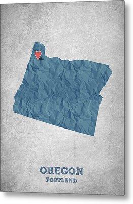 I Love Portland Oregon- Blue Metal Print by Aged Pixel
