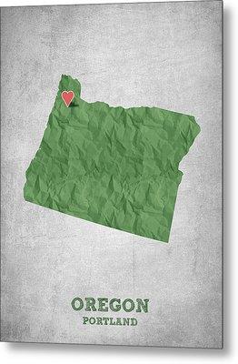 I Love Portland Oregon- Green Metal Print by Aged Pixel