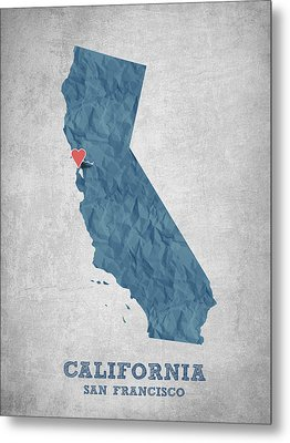 I Love San Francisco California - Blue Metal Print