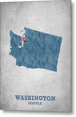 I Love Seattle Washington- Blue Metal Print by Aged Pixel