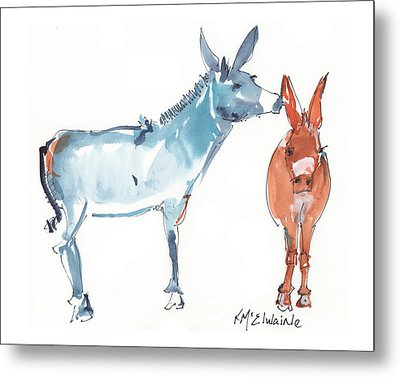 I Love You Donkey Art Watercolor Painting By Kmcelwaine Metal Print by Kathleen McElwaine