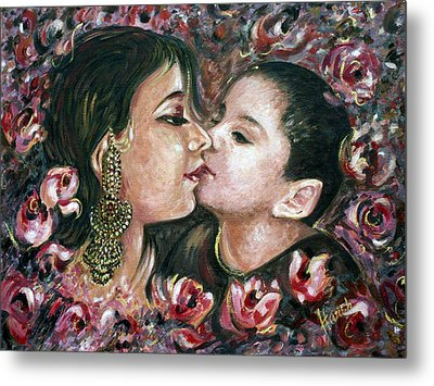Metal Print featuring the painting I Love You Mom by Harsh Malik