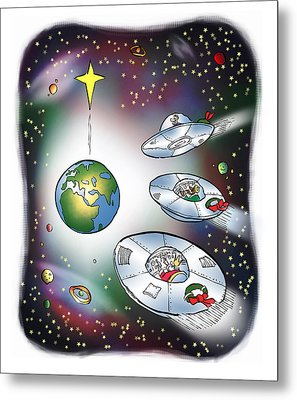 I Saw Three Saucers Metal Print by Mark Armstrong