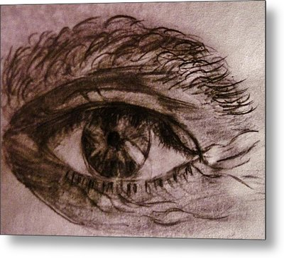 Metal Print featuring the drawing I See You... by Cristina Mihailescu