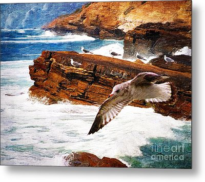 I Stand Amid The Breakers Metal Print
