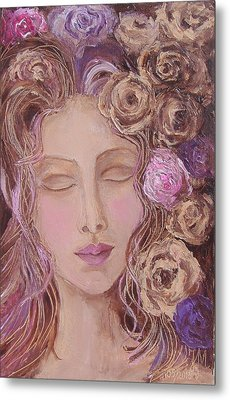 Metal Print featuring the painting I Want To Kiss Me by Nina Mitkova
