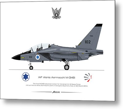 Metal Print featuring the drawing Iaf Aermacchi M346i by Amos Dor