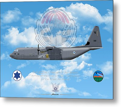 Metal Print featuring the drawing Iaf C-130j Shimshon by Amos Dor