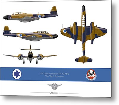 Metal Print featuring the drawing Iaf Gloster Meteor Nf 13 Nr 50 by Amos Dor