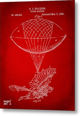 Icarus Airborn Patent Artwork Red Metal Print by Nikki Marie Smith