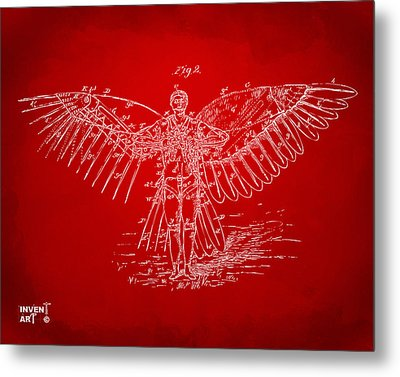 Icarus Flying Machine Patent Artwork Red Metal Print by Nikki Marie Smith