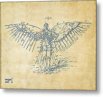 Icarus Flying Machine Patent Artwork Vintage Metal Print by Nikki Marie Smith