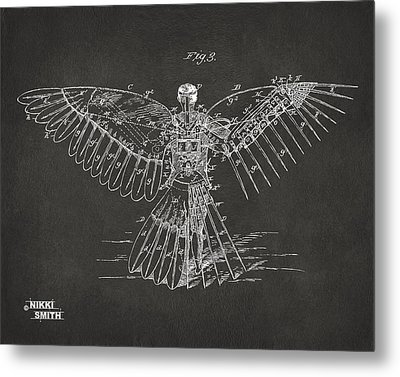 Icarus Human Flight Patent Artwork - Gray Metal Print by Nikki Marie Smith