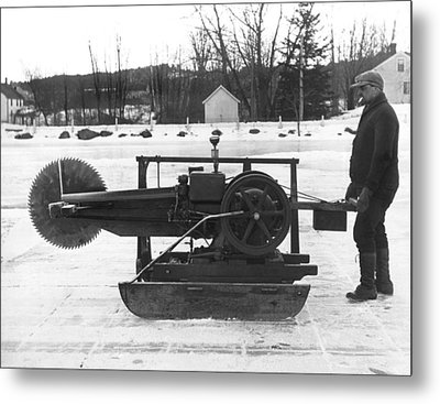 Ice Block Cutting Machine Metal Print