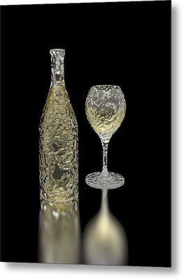 Ice Bottle And Glass Metal Print by Hakon Soreide