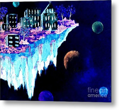Ice City In Space Metal Print by Denise Tomasura