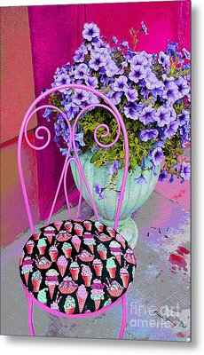 Ice Cream Cafe Chair Metal Print