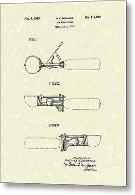 Ice Cream Scoop 1938 Patent Art Metal Print