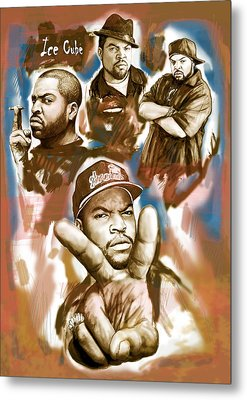 Ice Cube Group Drawing Pop Art Sketch Poster Metal Print by Kim Wang