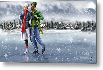 Ice Dancing On The Lake Metal Print by Reggie Duffie