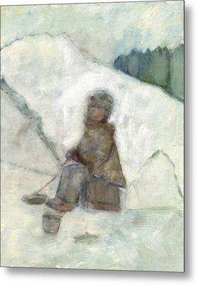 Ice Fishing Metal Print by David Dossett