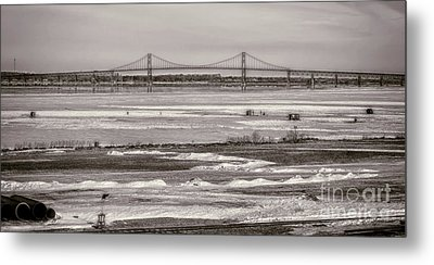 Ice Fishing On The Saint Lawrence River Metal Print