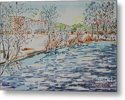 Metal Print featuring the painting Ice Floes On River Rednitz by Alfred Motzer