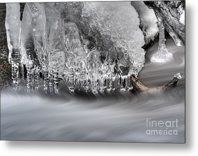 Ice Formation Above Stream Metal Print by Dan Friend